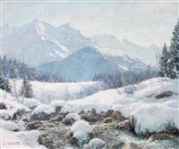 a praz-coutant, hiver, vue sur le mont blanc by angelo abrate