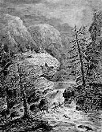 a mountainous landscape, with walkers overlooking rapids by gerhardus emaus de micault