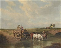 a landscape with a cart at a ford, farmhorses watering, and a coach beyond by jacques-laurent agasse