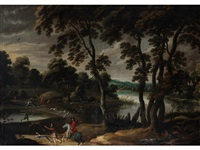 a stag hunt in a wooded riverside landscape (+ and figures preparing for the hunt, before an extensive river landscape; pair) by jan wildens