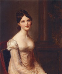 portrait of a young lady seated wearing a pink dress with columns beyond by firmin massot