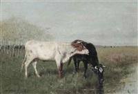 koeien in de weide: cows in a meadow by willem maris
