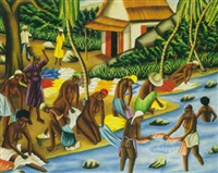 women by the river by castera bazile