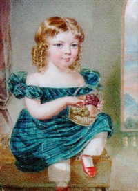 george olaus baillie of leys castle as a child with blond curls, wearing low-cut blue tartan dress with white lace trim by reginald easton