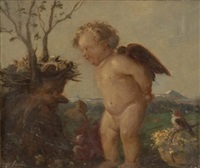 putto vor vogelnest by hans huber