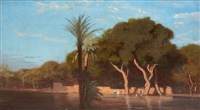 inondation du nil à choubrah (le caire) by charles théodore (frère bey) frère