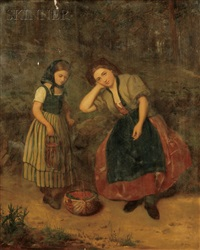 berry picking/portrait of a mother and daughter by philipp arons