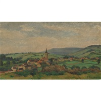 village and fields by eugene louis corneau