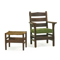 early armchair and footstool by gustav stickley