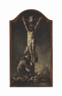 christ on the cross with a kneeling capuchin monk by alessandro magnasco