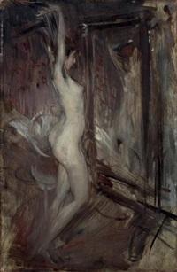 nu devant un miroir (psyché empire) (+ etude d'homme (study), verso) by giovanni boldini