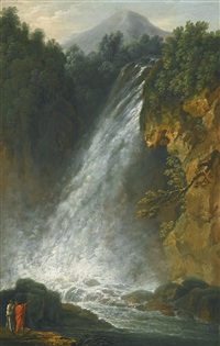 view of a traveller and a fisherman by the terni waterfall and view of a traveller and washerwoman by a waterfall, a monastery in the distance (pair) by francesco fidanza
