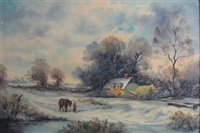 winter landscape with house, figure walking with horse by eugène laforet