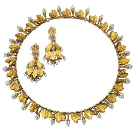 a demi parure comprising a necklace of fringe design and a pair of earrings set of 2 by charles rivaud