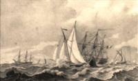 vessels and ships sailing in a rough sea by cornelis thim
