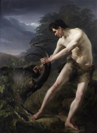 a young man fighting a goat by friedrich rehberg
