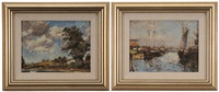 the harbor; cloudy skies (2 works) by max kuehne