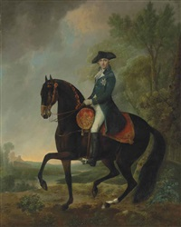 equestrian portrait of an officer, small full-length, in a tricorn and blue frock coat with the star of the order of the garter, in a river landscape by david morier