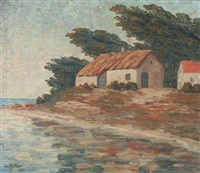 cottage on the water, coast of california by william hiller