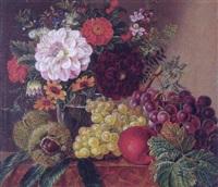 glas med georginer og roser samt vindruer, æble og kastanier på en karm by wilhelmine lofgren-hoffmann