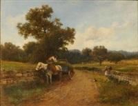 at little malvern, a horse drawn wagon and figures on a country lane by david bates