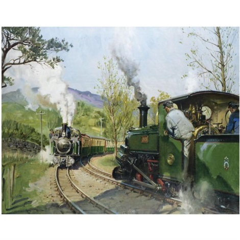 on the ffestiniog railway the pass track by terence cuneo