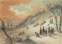 tobogganing on a hillside, near montreal by james d. duncan