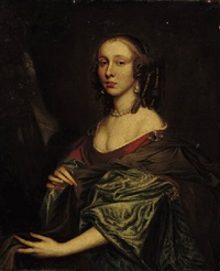 portrait of a lady in an orange dress with green sleeves by john hayls