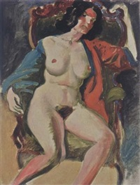 a female nude on a chair by joop moesman