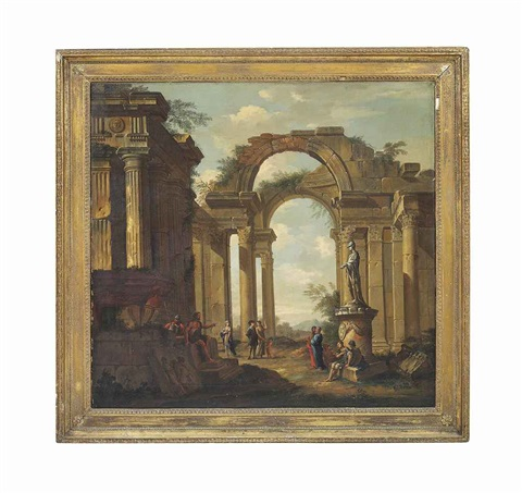 a capriccio of classical ruins with a statue of minerva and figures conversing by giovanni paolo panini