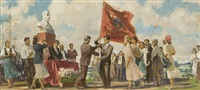 study for panel passing the red flag by alexandr nikolaevich samokhvalov