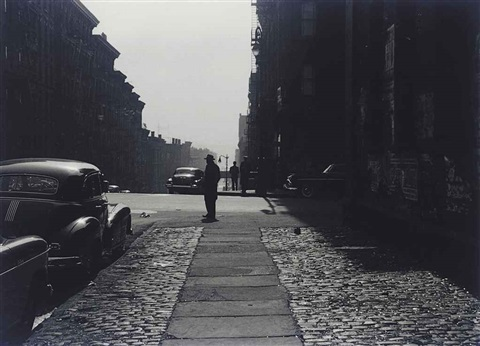 three men standing on a corner morning by roy decarava