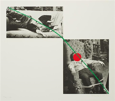 man collapsed on sofa man tied to chair a fixd inflexible sorrow from a suite of five lithographs for tristram shandy by john baldessari