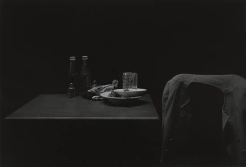 ketchup bottles table and coat by roy decarava