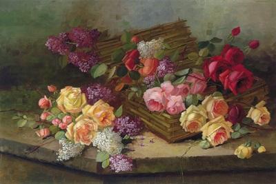 stilleben mit rosen und flieder by austrian school 20