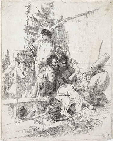 pulcinella parla a due maghi from scherzi by giovanni battista tiepolo