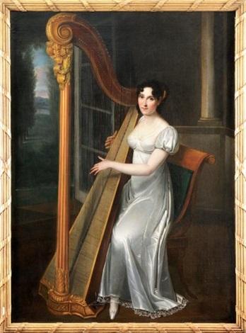 portrait de joséphine fridrix ulyana miklailova alexandrova à la harpe by henri françois riesener