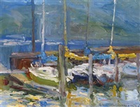evening impression with boats by orestes (rick) nicholas de grandmaison