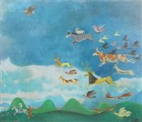 flüchtet der mensch kommt, landschaft mit der flucht der heilige familie und fliehenden tieren vor den wolken und dem blau des himmels by gyorgy lehoczky