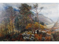 figures and sheep on a woodland path with a mountainous landscape beyond by charles thomas burt