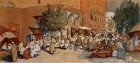 scène de marché, tunis by georges lemare