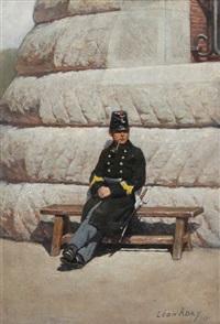 soldat se reposant sur un banc devant la caserne by leon eugene august abry
