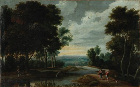 landscape with peasants and animals by jacques d arthois