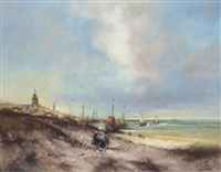 fishing boats on the beach by hendrik vader