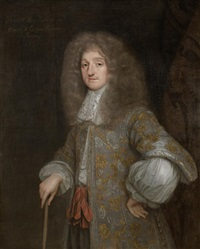 portrait of baptist may in a silver embroidered coat and a white chemise, standing before a damask curtain by henri gascars