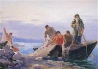 pescadoresen el lago sevan, armenia by gervasia vartanyan