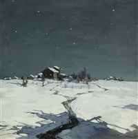 winter night by mikhail markelovich guzhavin