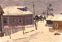 le village mstera enneige by nikolai modorov