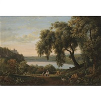 a view of the castel gandolfo on lake albano by elisabet charlotta karsten