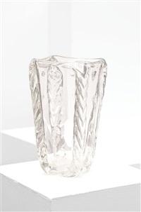 vaso in vetro trasparente cordonato by barovier & toso (co.)